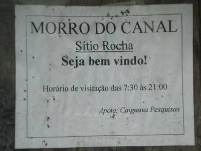 Placa morro do canal sítio Rocha