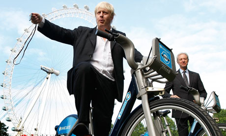 Boris Johnson mayor of London poses for the media as a new cycle hire scheme starts in London.